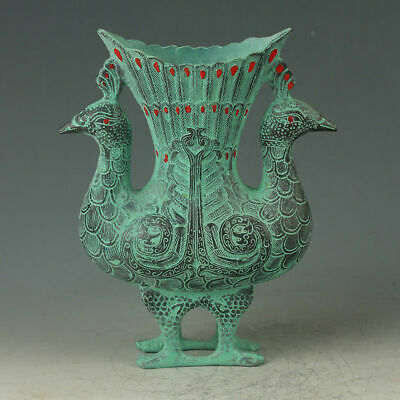 Exquisite OLD Chinese Bronze Handwork Carved Double Peacock Shape Vase