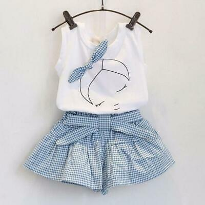 Kids Children Girls Fille Cute Bow Shirt Tops Shorts Skorts Set Clothing Outfits