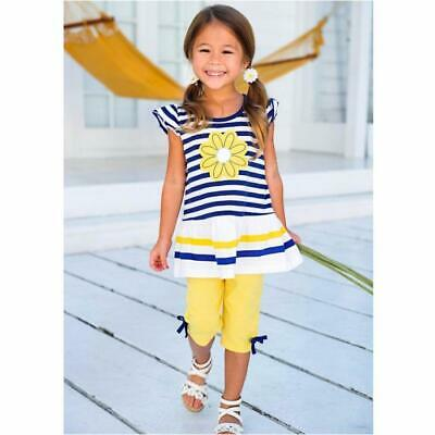 Toddler Baby Kids Girls Floral Bow Shirt Stripe Sleeveless Tops Pants Outfit Set