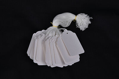 100 White Strung Price Tags 58Mm X 37Mm Swing Tickets Gift Labels