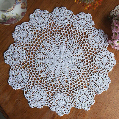 "15"" Round Cotton Crochet Lace Doily Handmade Placemat Flower Coaster Mat White"