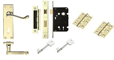 Victorian Scroll Polished Brass Handle Internal 3 Lever Lock Set with Hinges
