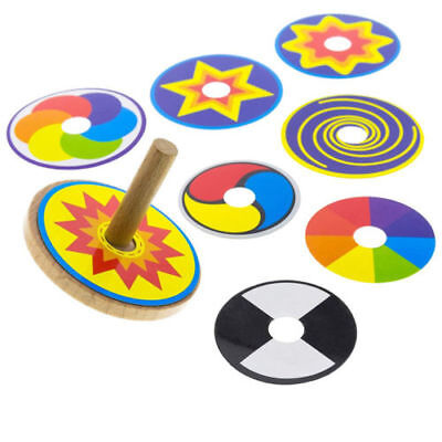 Wooden Spinning Top Gyro Toy Funny Gift Intelligence 8 Drawing Cards Colorful GS