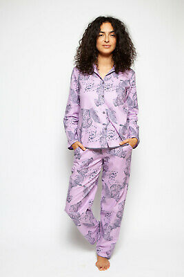 Cyberjammies 'Laura' Grey Pink Leopard Print Ladies Pyjama Set - SIZE 18 20 22