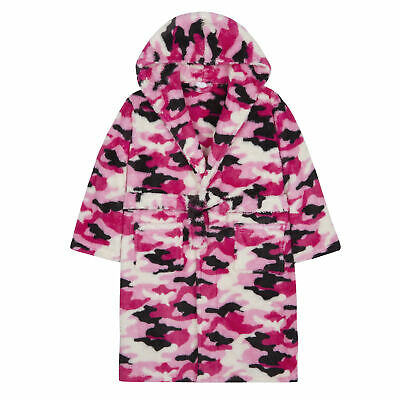 Girls Camouflage Camo Dressing Gown Robe Soft Plush Fleece Hooded Fluffy
