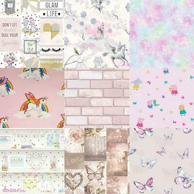 Girls Wallpaper Designs include Unicorns, Hearts, Butterflies, Fairy, Polka Dot