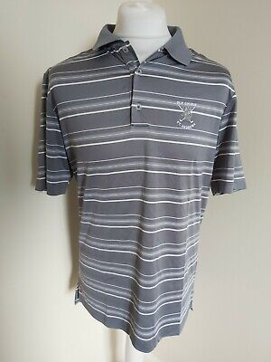 Adidas St Andrews Golf Polo Grey Stripe Medium 44 Chest Old Course Pure Motion