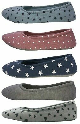 Ladies Ballerina Slippers Slip On Flat Comfort House Shoes Size 4-8 Womens New