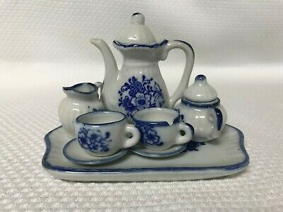 10pc Vintage Miniature Tea Set White Delft Blue Flowers Porcelain Ceramic CHIP