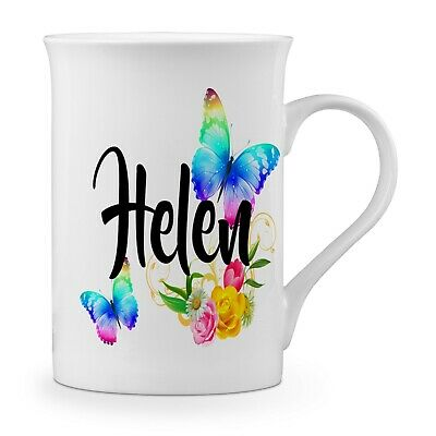 Personalised Beautiful Butterflies & Flowers Novelty Gift Fine Bone China Mug