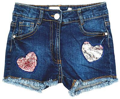 Girls Shorts Indigo Denim Sequin Hearts Summer Hot Pants Kids 4 to 8 Years