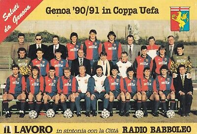 Calcio/Football Cartolina sq. GENOA 1990-'91 COPPA UEFA originale