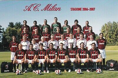 Calcio/Football Cartolina sq. MILAN 2006-2007 con MALDINI originale