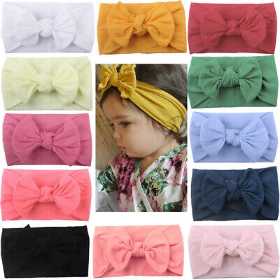 Baby Girls Kids Toddler Bow Knot Hairband Headband Stretch Turban Head Wrap New#