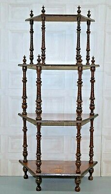 Beautiful Victorian Marquetry Inlaid Walnut 4 Tier Whatnot Royal Crested