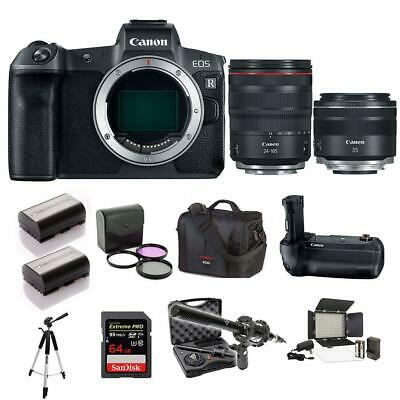 Canon EOS R Mirrorless Digital Camera with 24-105mm RF and 35mm RF lens kit