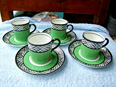 Set of 4 Art Deco Bishop & Stonier, Coffe Cans & Saucers, in Green/Black/White