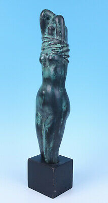 Azriel Awret Israeli-American Bronze Sculpture Undressing Woman Nude Jewish Art