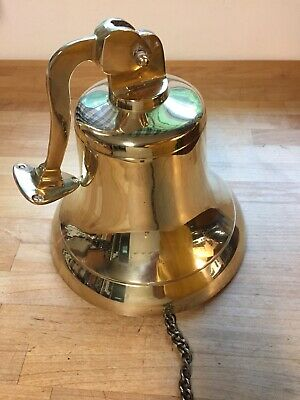 Beautiful Large Heavy Nautical 8 Inch Solid Brass Hanging Ship's Bell Wall Décor