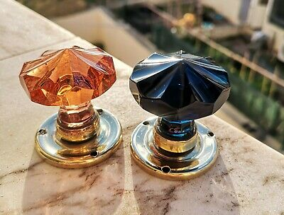 1 Pair VINTAGE DOOR KNOBS - CUT GLASS - BLUE Cobalt and AMBER  - HANDLES 45 mm