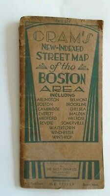 Rare Map NOT Ordnance Survey Boston 1939? Cambridge Brookline Everett Arlington