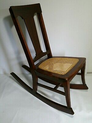 Mission Arts & Crafts MICHIGAN CHAIR CO GRAND RAPIDS Mahogany Cane Rocking Chair