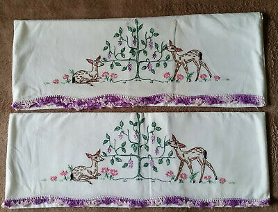 Vintage Pair of Pillowcases with Embroidered Deer Scene & Purple Crochet Edges