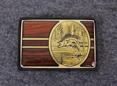 Vintage 80's 1984 Fishing Bass Angler Outdoors Solid Brass Nap Inc Belt Buckle