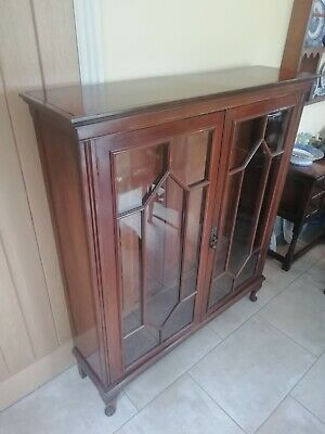 Display Cabinet Free Standing Walnut Wood Glass Panel Doors Adjustable Shelves