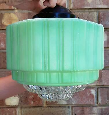 Vintage Art Deco Green Empire Pendant Light