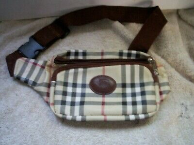 Burberry Multi Color Leather Waist -Fanny Pack Multiple Pockets Unisex Rare