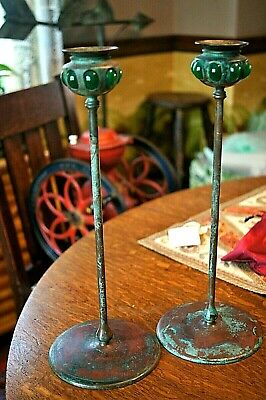 Antique Arts & Crafts Mission Bronze Candlesticks Green Glass Embellishments 14""
