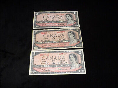 Bank Of Canada Lot -3X1954 $2.00 Notes