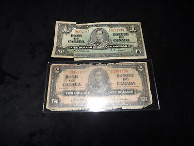 Bank Of Canada Lot - 1937 $2.00 & $1.00 Notes ==-=-