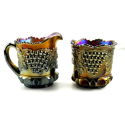 Antique Northwood Carnival Glass Amethyst Grape Cable Creamer and Sugar Set bt