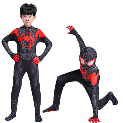 Spider Man Into the SuperHero Costume Kids Miles Morales Cosplay Fancy Paty Suit