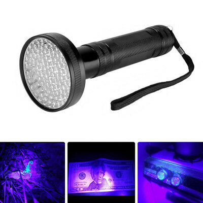 UV Ultra Violet 100LED Flashlight Mini Blacklight Aluminum Torch Light Lamp AB