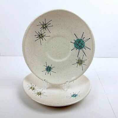 Vintage Franciscan Starburst Lot of 2 Saucers 1950's Atomic Mid-Century