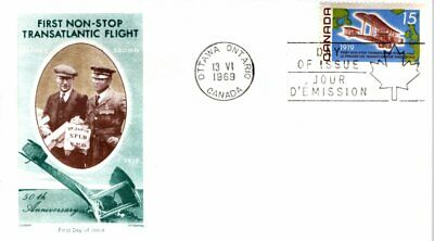 1969 #494 Alcock-Brown Flight FDC with Jackson Chickering cachet unaddressed