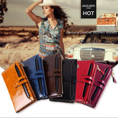 Women Large Real Genuine Leather Phone Wallet Long Purse Phone Bag Card Holder