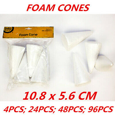 Styrofoam Cones Craft Polystyrene Shape Form Foam Decorating Modelling Art 4Pack