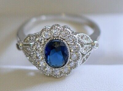 Antique Art Deco Jewellery Ring Blue White Sapphires Vintage Jewelry Size R