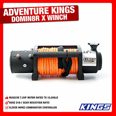 4WD Electric Rope Winch  Wired Remote Kings 12000lb Domin8rX Steel 4X4