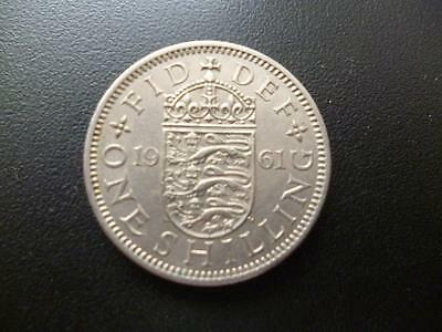 1961 English Shilling Coin, In Good Used Condition, Copper Nickel.1961 Shilling
