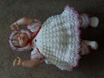 Gorgeous Hand Knitted -Outfit for Newborn Baby Girl 0-3months or a Reborn Doll