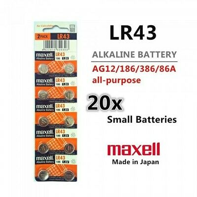20 Pieces Maxell LR43 (186) 1.5V Alkaline Battery - Free Shipping