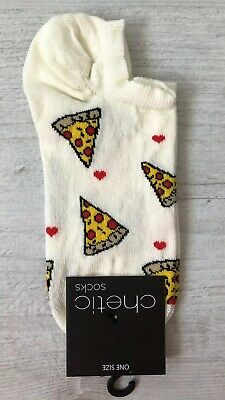 Ladies/Girls Cream With Pizzas And Hearts On Cotton Trainer Socks