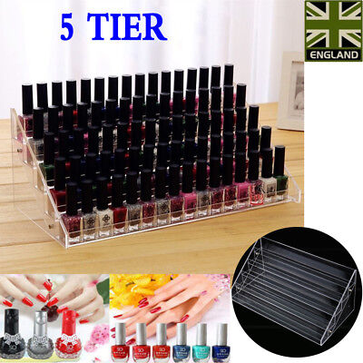 5 Tiers Clear Acrylic Nail Polish Rack Varnish Bottle Display Stand Holder Case