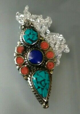Sterling Silver Turquoise Red Coral Lapis Lazuli Inlay Necklace Native American