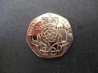 2002 BRILLIANT UNCIRCULATED TWENTY PENCE PIECE. Year 2002 20p coin uncirculated.